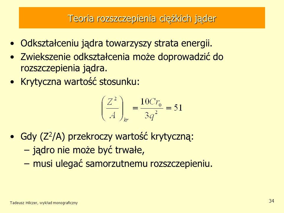 Tadeusz Hilczer, wykład monograficzny 34 Teoria rozszczepienia ciężkich jąder Odkształceniu jądra towarzyszy strata energii. Zwiekszenie odkształcenia