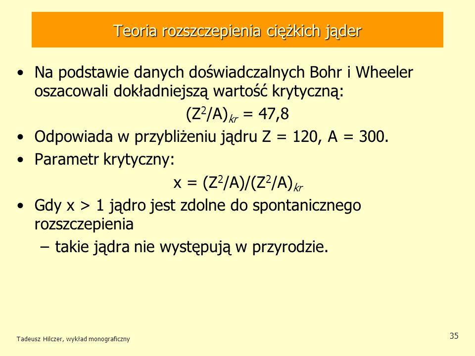 Tadeusz Hilczer, wykład monograficzny 35 Teoria rozszczepienia ciężkich jąder Na podstawie danych doświadczalnych Bohr i Wheeler oszacowali dokładniej