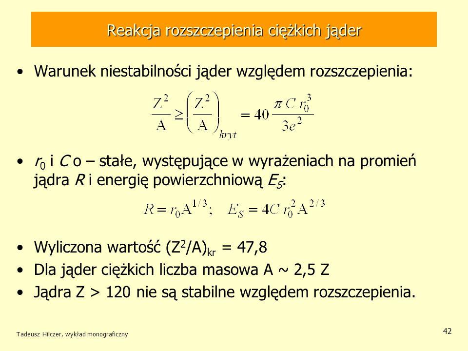 Tadeusz Hilczer, wykład monograficzny 42 Reakcja rozszczepienia ciężkich jąder Warunek niestabilności jąder względem rozszczepienia: r 0 i C o – stałe