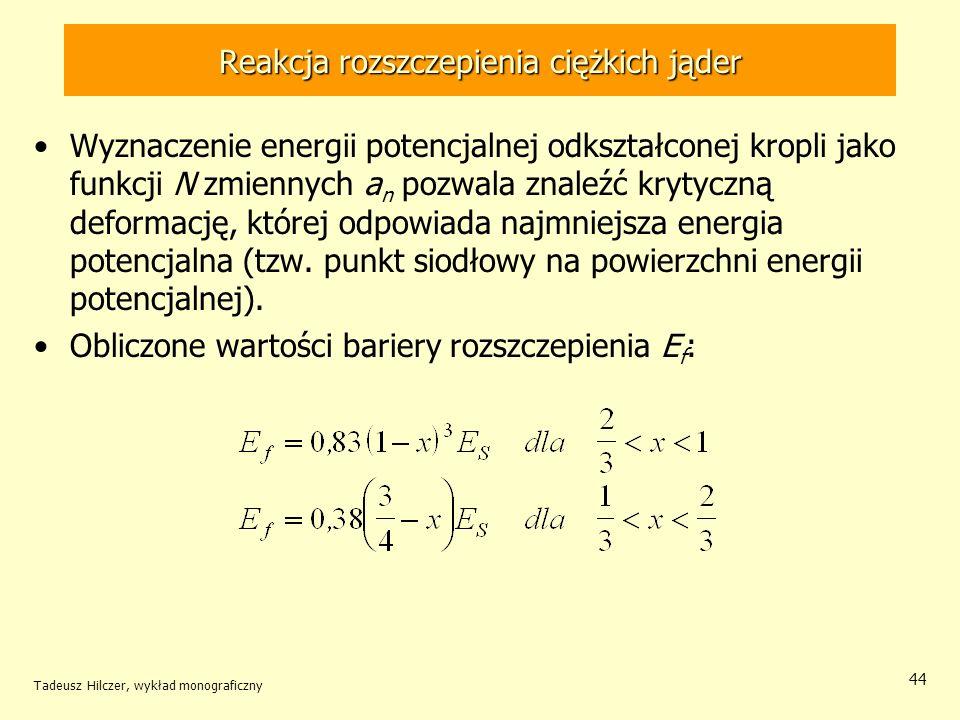 Tadeusz Hilczer, wykład monograficzny 44 Reakcja rozszczepienia ciężkich jąder Wyznaczenie energii potencjalnej odkształconej kropli jako funkcji N zm