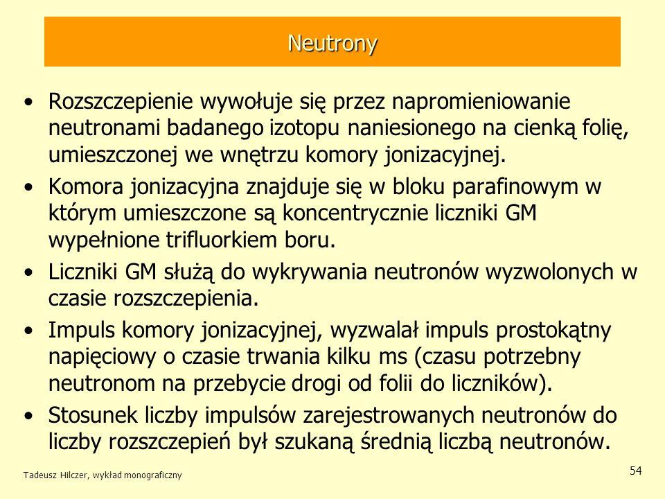 Tadeusz Hilczer, wykład monograficzny 54 Neutrony Rozszczepienie wywołuje się przez napromieniowanie neutronami badanego izotopu naniesionego na cienk