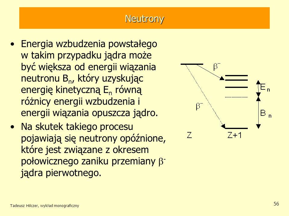 Tadeusz Hilczer, wykład monograficzny 56 Neutrony Energia wzbudzenia powstałego w takim przypadku jądra może być większa od energii wiązania neutronu