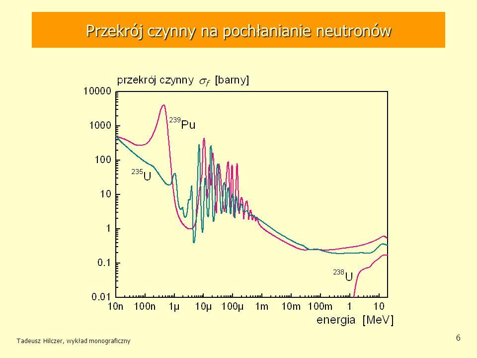 Tadeusz Hilczer, wykład monograficzny 7 Rozszczepienie ciężkich jąder Neutrony termiczne wywołują rozszczepienie jąder o nieparzystej liczbie neutronów Neutron termiczny wiąże się w parę z neutronem walencyjnym oddając energię pairingu na wzbudzenie, które prowadzi do rozszczepienia.