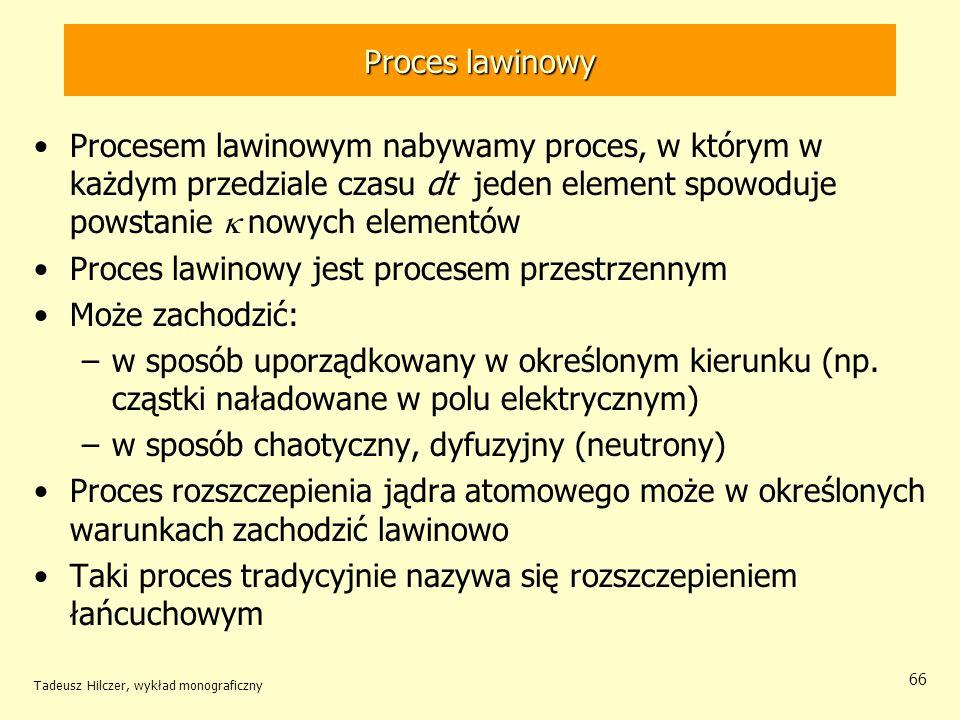 Tadeusz Hilczer, wykład monograficzny 66 Proces lawinowy Procesem lawinowym nabywamy proces, w którym w każdym przedziale czasu dt jeden element spowo