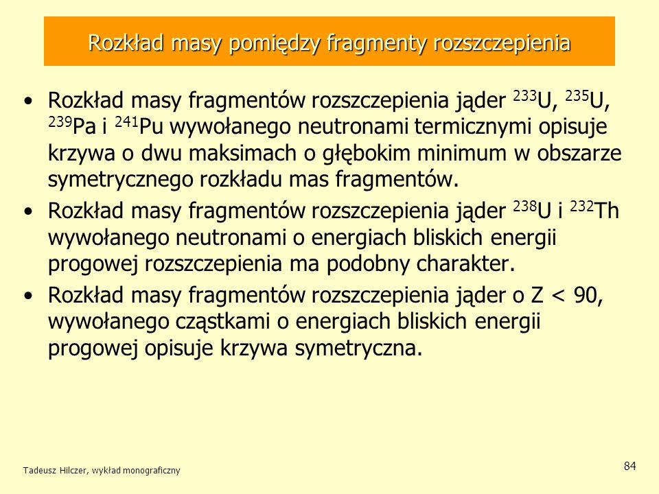 Tadeusz Hilczer, wykład monograficzny 84 Rozkład masy pomiędzy fragmenty rozszczepienia Rozkład masy fragmentów rozszczepienia jąder 233 U, 235 U, 239