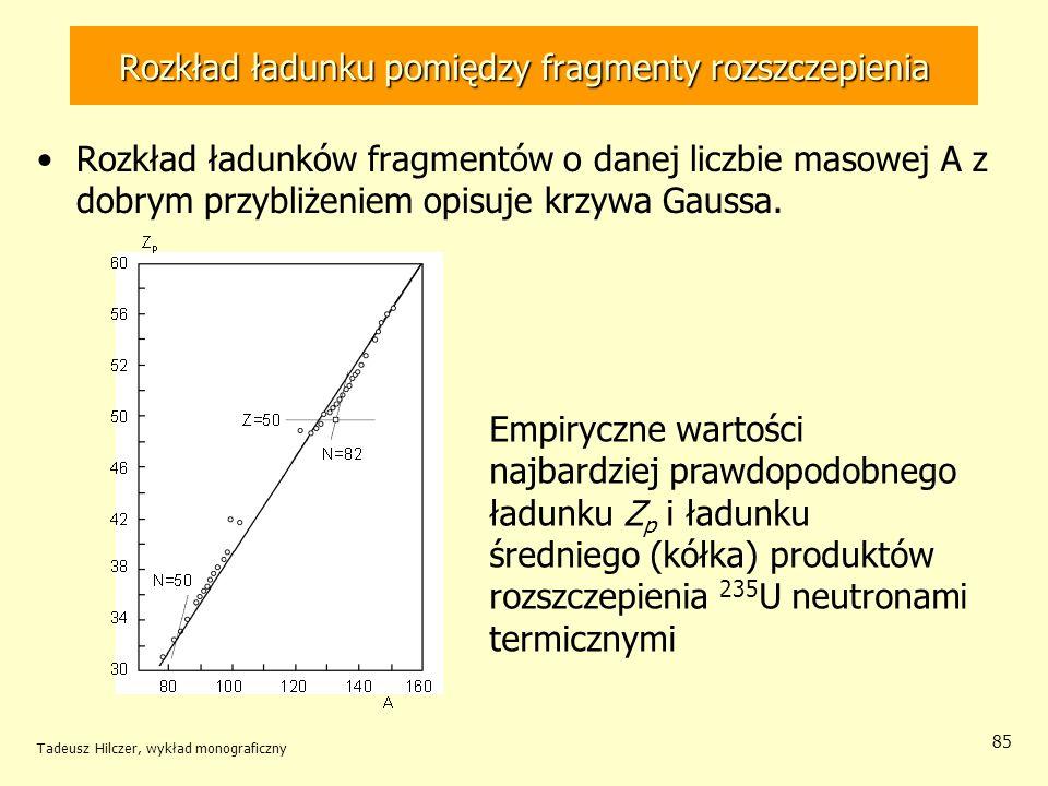 Tadeusz Hilczer, wykład monograficzny 85 Rozkład ładunku pomiędzy fragmenty rozszczepienia Rozkład ładunków fragmentów o danej liczbie masowej A z dob