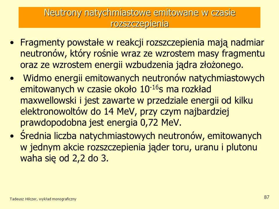 Tadeusz Hilczer, wykład monograficzny 87 Neutrony natychmiastowe emitowane w czasie rozszczepienia Fragmenty powstałe w reakcji rozszczepienia mają na