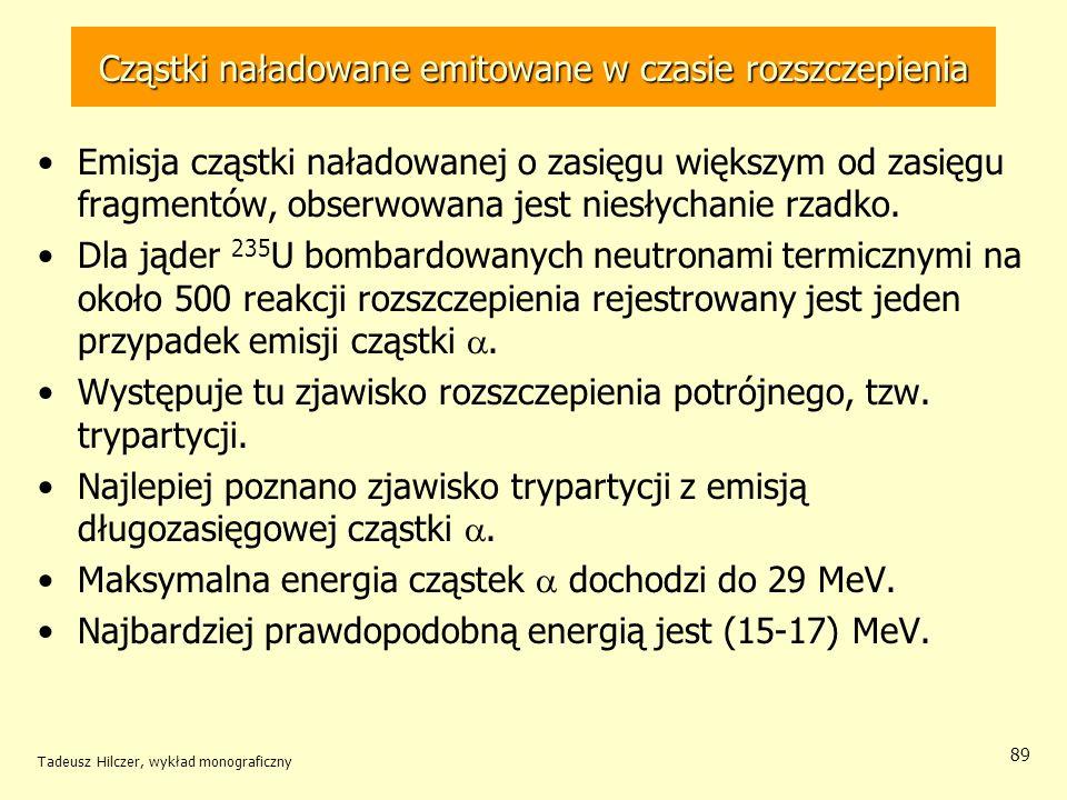 Tadeusz Hilczer, wykład monograficzny 89 Cząstki naładowane emitowane w czasie rozszczepienia Emisja cząstki naładowanej o zasięgu większym od zasięgu