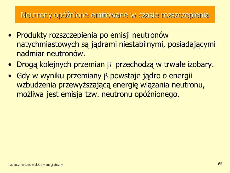 Tadeusz Hilczer, wykład monograficzny 90 Neutrony opóźnione emitowane w czasie rozszczepienia Produkty rozszczepienia po emisji neutronów natychmiasto
