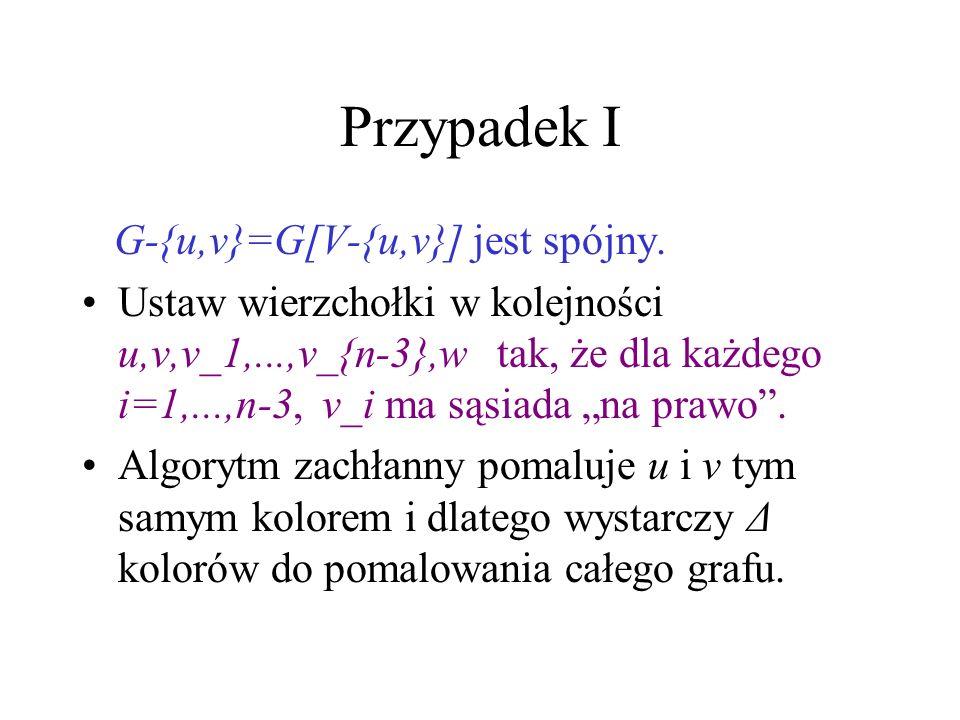 Dowód Tw. Brooksa Z głowy mamy już przypadki: Δ=2, G nieregularny i G z wierzchołkiem cięcia. Niech teraz G będzie dowolnym grafem Δ- regularnym, bez