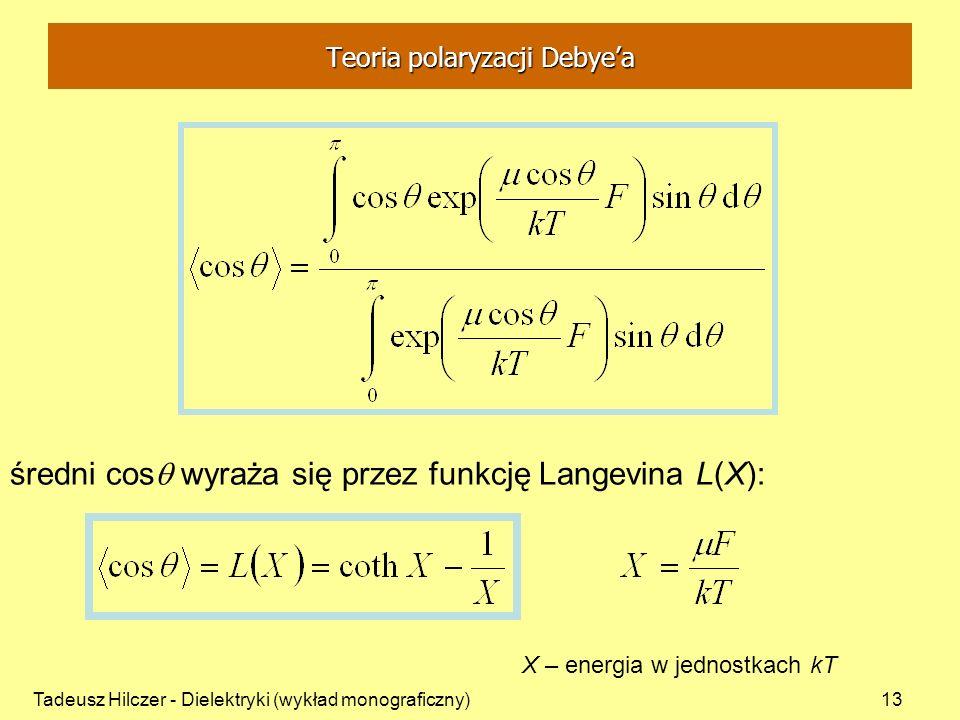 Tadeusz Hilczer - Dielektryki (wykład monograficzny)13 średni cos wyraża się przez funkcję Langevina L(X): X – energia w jednostkach kT Teoria polaryz