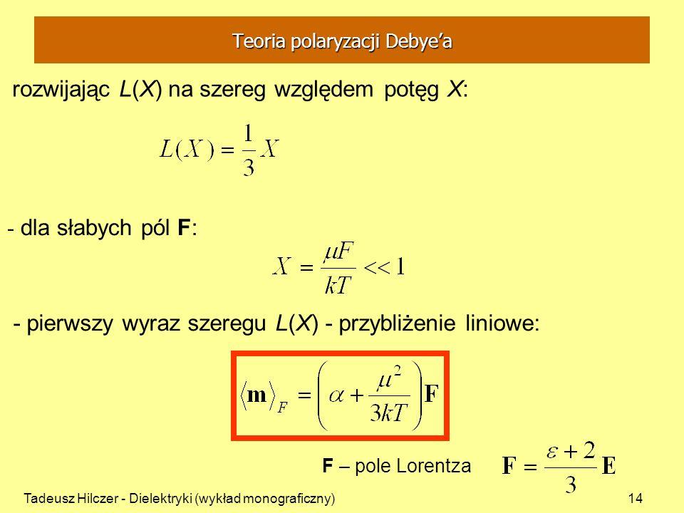Tadeusz Hilczer - Dielektryki (wykład monograficzny)14 rozwijając L(X) na szereg względem potęg X: - dla słabych pól F: - pierwszy wyraz szeregu L(X)