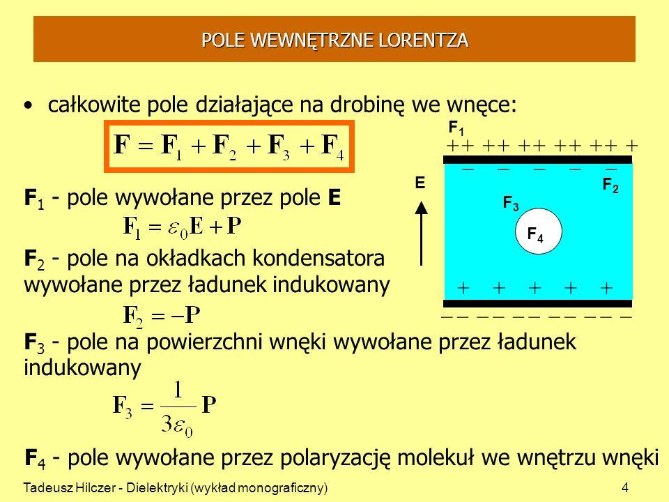 Tadeusz Hilczer - Dielektryki (wykład monograficzny)5 Całkowite pole działające na drobinę we wnęce: F 2 - pole na okładkach kondensatora wywołane przez ładunek indukowany F 3 - pole na powierzchni wnęki wywołane przez ładunek indukowany - F 1 - pole wywołane przez pole E E F1F1 F2F2 +++++ ___________ _____ +++++++++++ F3F3 F 4 - pole wywołane przez polaryzację molekuł we wnętrzu wnęki F4F4 POLE WEWNĘTRZNE LORENTZA