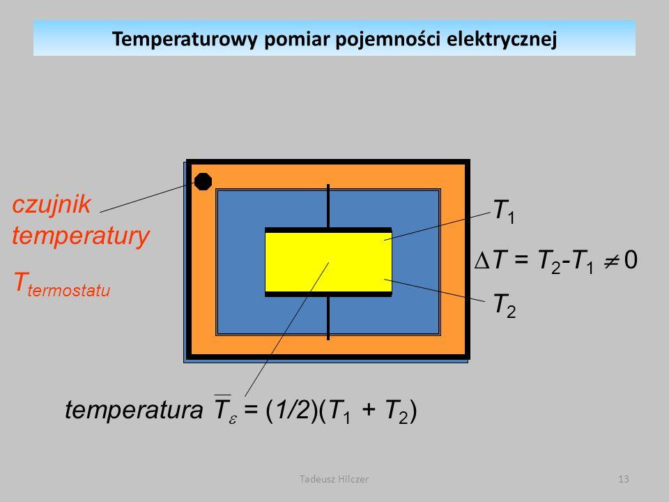 czujnik temperatury T termostatu temperatura T = (1/2)(T 1 + T 2 ) T1T2T1T2 T = T 2 -T 1 0 Temperaturowy pomiar pojemności elektrycznej 13Tadeusz Hilczer