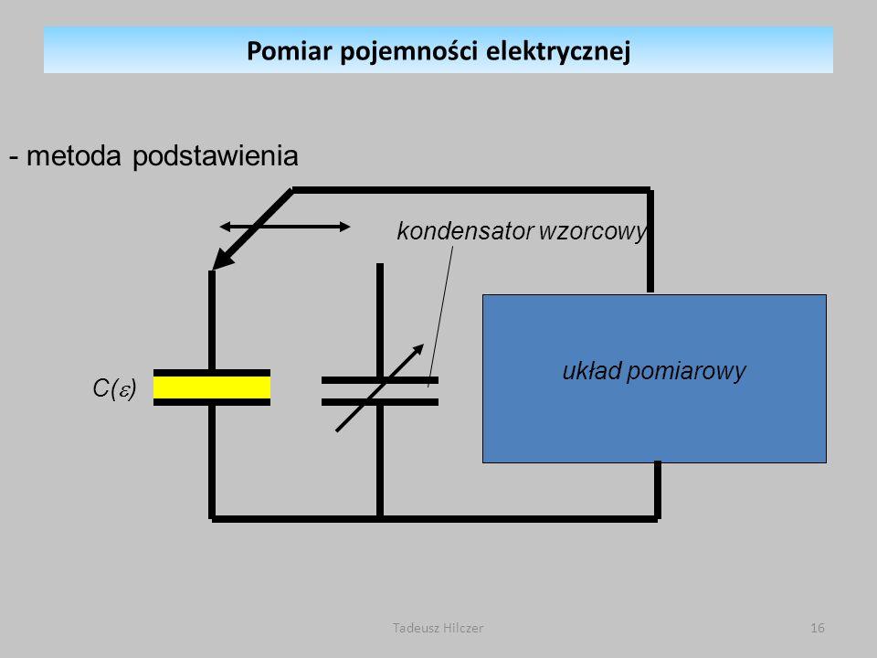 układ pomiarowy - metoda podstawienia kondensator wzorcowy C( ) Pomiar pojemności elektrycznej 16Tadeusz Hilczer