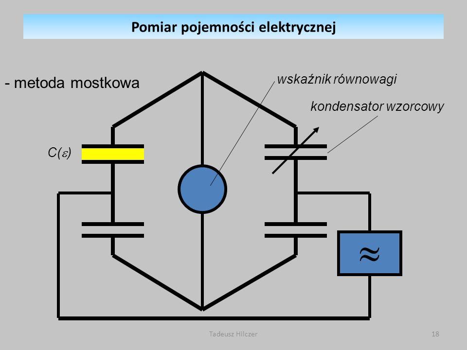 wskaźnik równowagi - metoda mostkowa kondensator wzorcowy C( ) Pomiar pojemności elektrycznej 18Tadeusz Hilczer