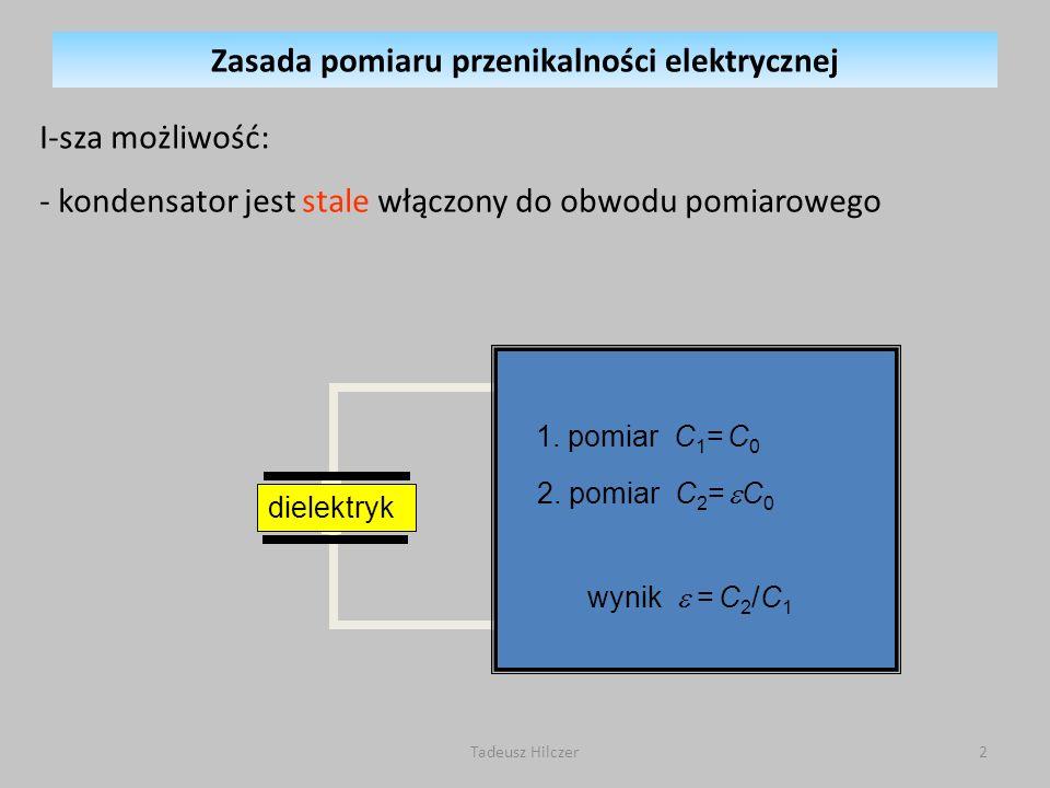 I-sza możliwość: - kondensator jest stale włączony do obwodu pomiarowego miernik prądu dielektryk 1.