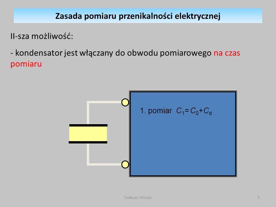 1. pomiar C 1 = C 0 +C d II-sza możliwość: - kondensator jest włączany do obwodu pomiarowego na czas pomiaru Zasada pomiaru przenikalności elektryczne