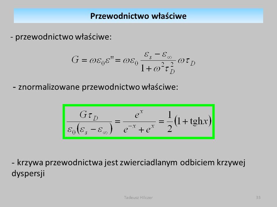 Tadeusz Hilczer33 - przewodnictwo właściwe: - znormalizowane przewodnictwo właściwe: - krzywa przewodnictwa jest zwierciadlanym odbiciem krzywej dyspersji Przewodnictwo właściwe