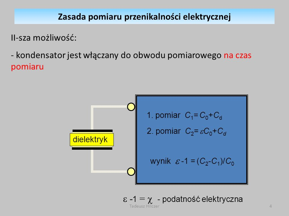 - 1 = - podatność elektryczna dielektryk 1.pomiar C 1 = C 0 +C d 2.