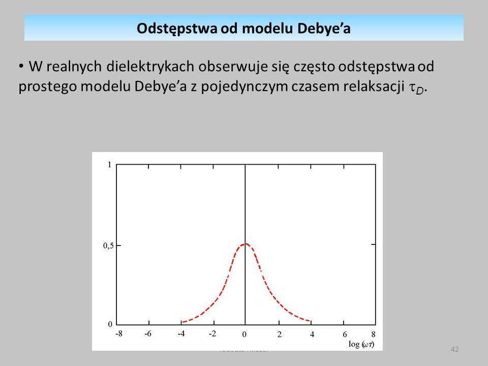 Tadeusz Hilczer42 W realnych dielektrykach obserwuje się często odstępstwa od prostego modelu Debyea z pojedynczym czasem relaksacji D.