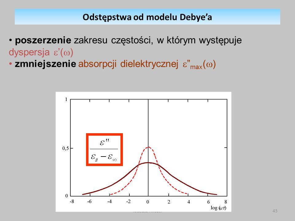 Tadeusz Hilczer43 Odstępstwa od modelu Debyea poszerzenie zakresu częstości, w którym występuje dyspersja ( ) zmniejszenie absorpcji dielektrycznej max ( )