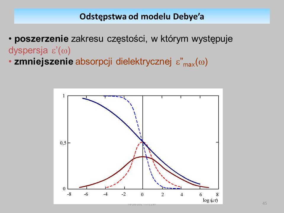 Tadeusz Hilczer 45 Odstępstwa od modelu Debyea poszerzenie zakresu częstości, w którym występuje dyspersja ( ) zmniejszenie absorpcji dielektrycznej max ( )