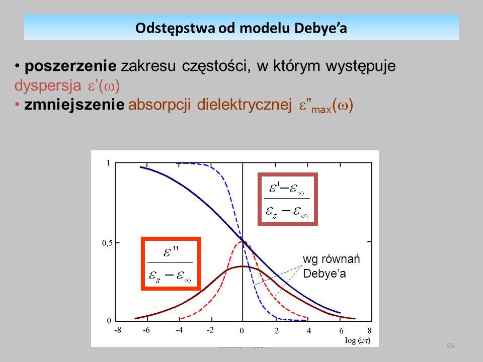 Tadeusz Hilczer46 wg równań Debyea Odstępstwa od modelu Debyea poszerzenie zakresu częstości, w którym występuje dyspersja ( ) zmniejszenie absorpcji dielektrycznej max ( )