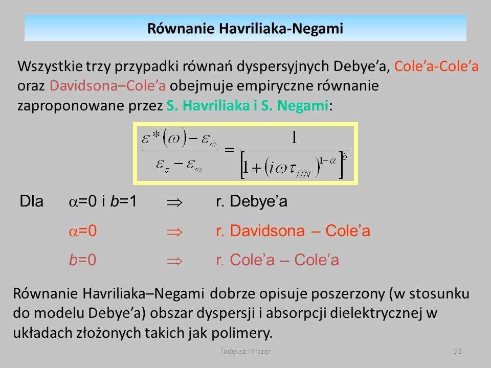 Tadeusz Hilczer52 Wszystkie trzy przypadki równań dyspersyjnych Debyea, Colea-Colea oraz Davidsona–Colea obejmuje empiryczne równanie zaproponowane przez S.