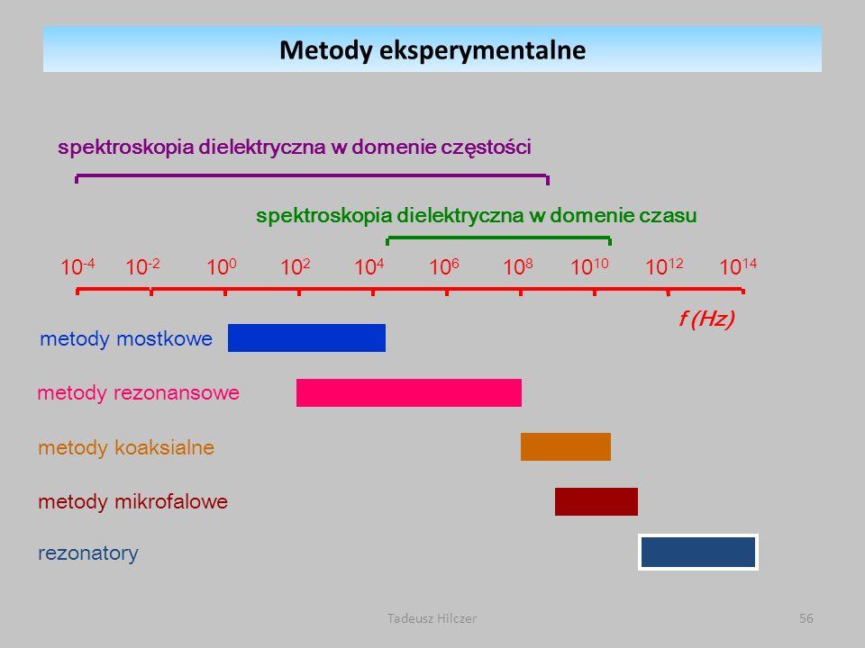 Tadeusz Hilczer56 spektroskopia dielektryczna w domenie czasu spektroskopia dielektryczna w domenie częstości f (Hz) 10 -4 10 -2 10 0 10 2 10 4 10 6 10 8 10 10 10 12 10 14 metody mostkowemetody rezonansowe metody koaksialne metody mikrofalowe rezonatory Metody eksperymentalne