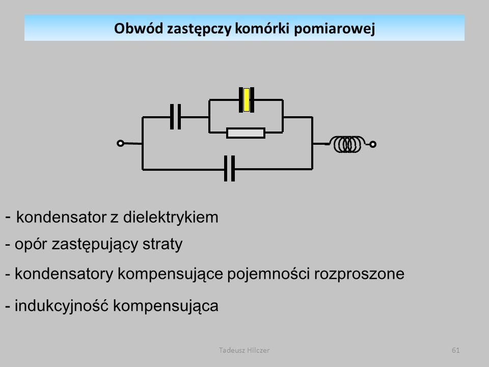 Tadeusz Hilczer61 - kondensator z dielektrykiem - op ó r zastępujący straty - kondensatory kompensujące pojemności rozproszone - indukcyjność kompensująca Obwód zastępczy komórki pomiarowej