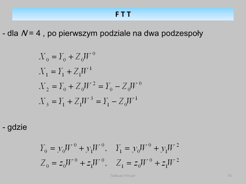 Tadeusz Hilczer74 - dla N = 4, po pierwszym podziale na dwa podzespoły - gdzie F T T