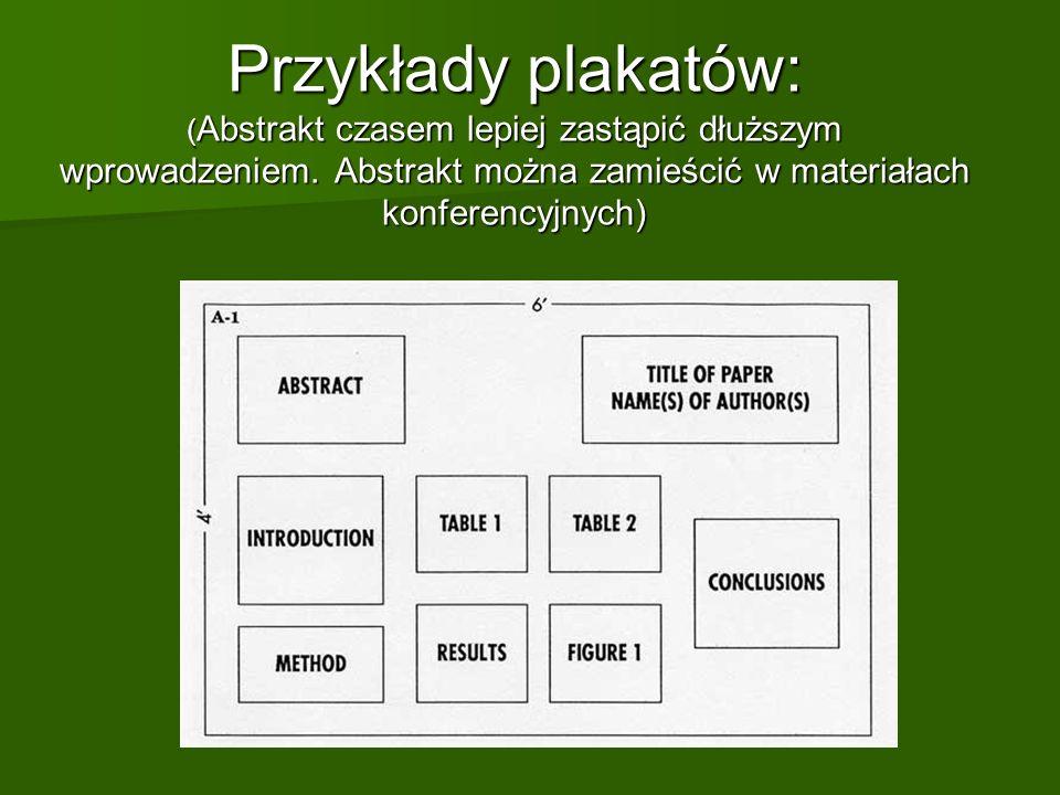 Przykłady plakatów: ( Abstrakt czasem lepiej zastąpić dłuższym wprowadzeniem. Abstrakt można zamieścić w materiałach konferencyjnych)
