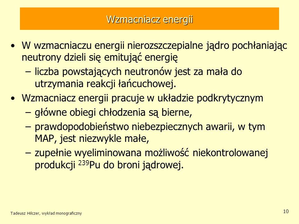 Tadeusz Hilczer, wykład monograficzny 10 Wzmacniacz energii W wzmacniaczu energii nierozszczepialne jądro pochłaniając neutrony dzieli się emitująć en