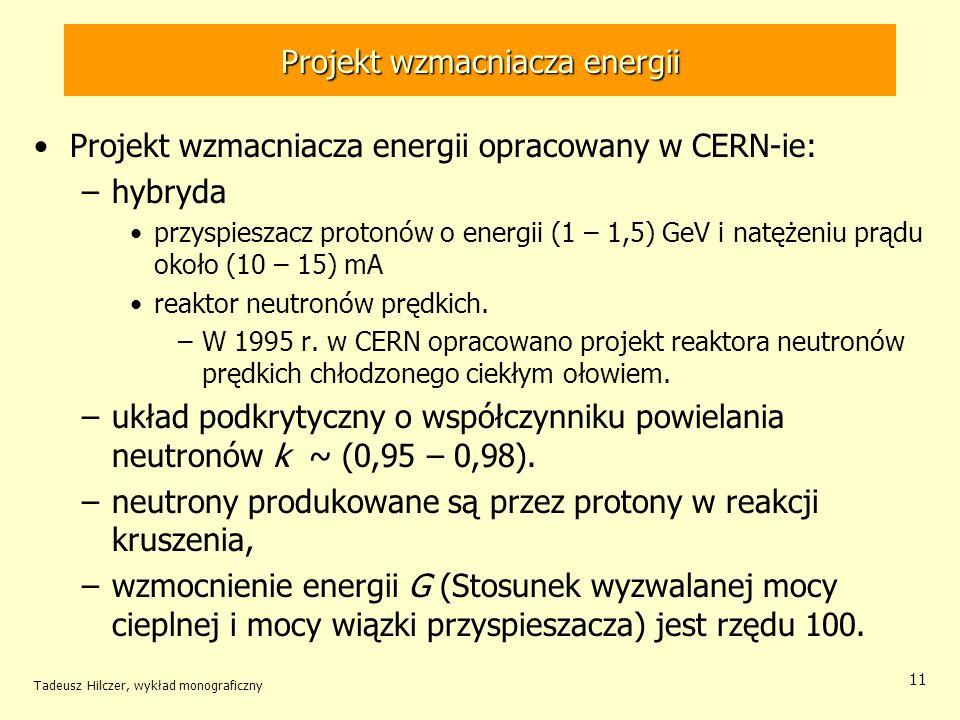Tadeusz Hilczer, wykład monograficzny 11 Projekt wzmacniacza energii Projekt wzmacniacza energii opracowany w CERN-ie: –hybryda przyspieszacz protonów