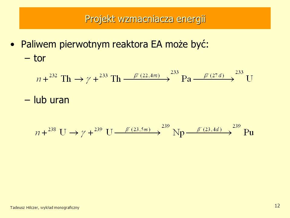 Tadeusz Hilczer, wykład monograficzny 12 Projekt wzmacniacza energii Paliwem pierwotnym reaktora EA może być: –tor –lub uran