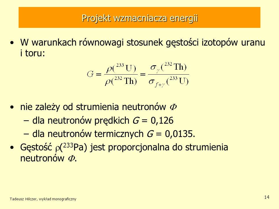 Tadeusz Hilczer, wykład monograficzny 14 Projekt wzmacniacza energii W warunkach równowagi stosunek gęstości izotopów uranu i toru: nie zależy od stru