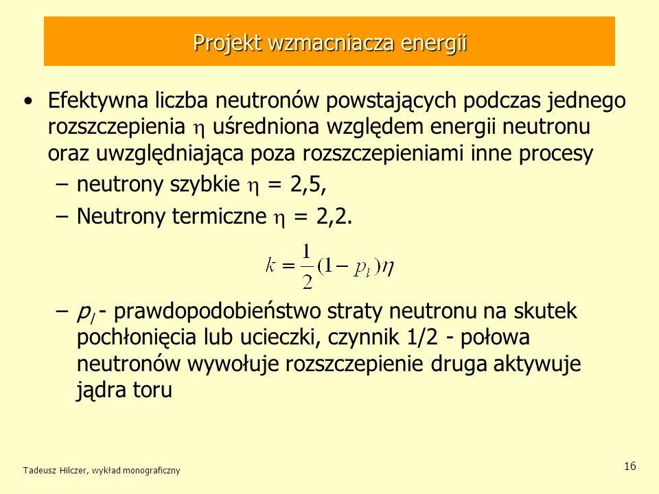 Tadeusz Hilczer, wykład monograficzny 16 Projekt wzmacniacza energii Efektywna liczba neutronów powstających podczas jednego rozszczepienia uśredniona