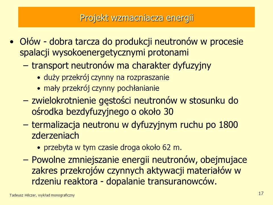 Tadeusz Hilczer, wykład monograficzny 17 Projekt wzmacniacza energii Ołów - dobra tarcza do produkcji neutronów w procesie spalacji wysokoenergetyczny