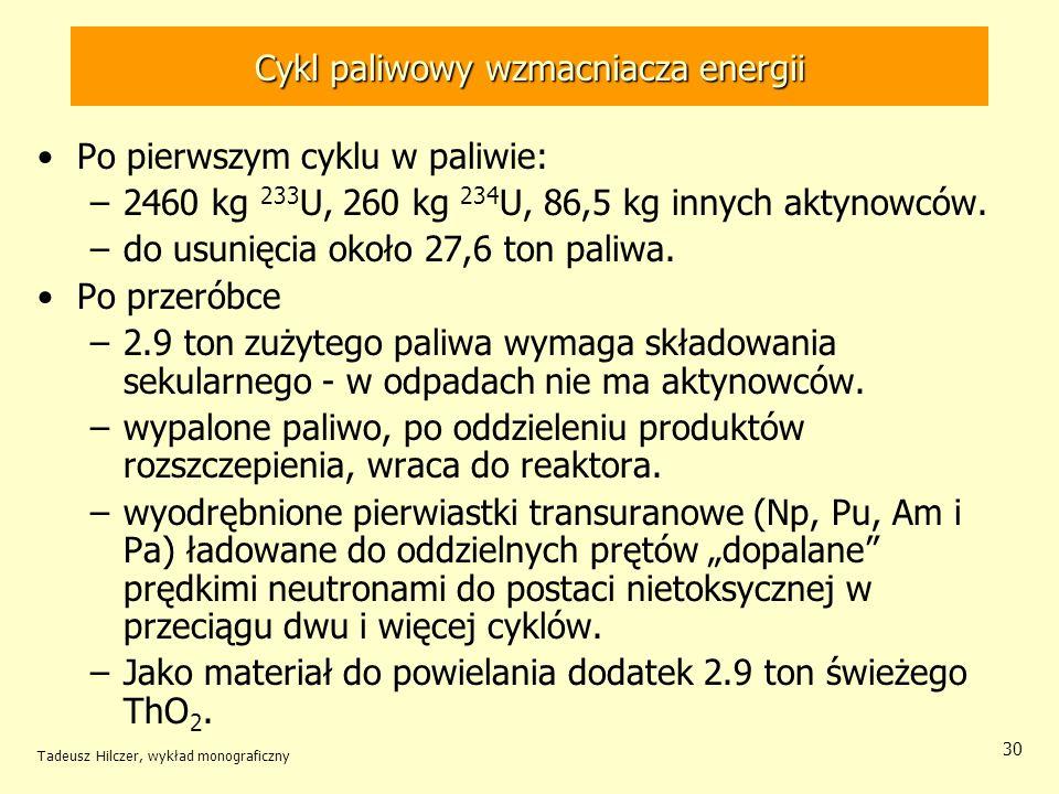 Tadeusz Hilczer, wykład monograficzny 30 Cykl paliwowy wzmacniacza energii Po pierwszym cyklu w paliwie: –2460 kg 233 U, 260 kg 234 U, 86,5 kg innych