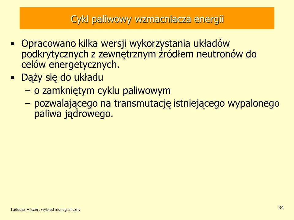 Tadeusz Hilczer, wykład monograficzny 34 Cykl paliwowy wzmacniacza energii Opracowano kilka wersji wykorzystania układów podkrytycznych z zewnętrznym