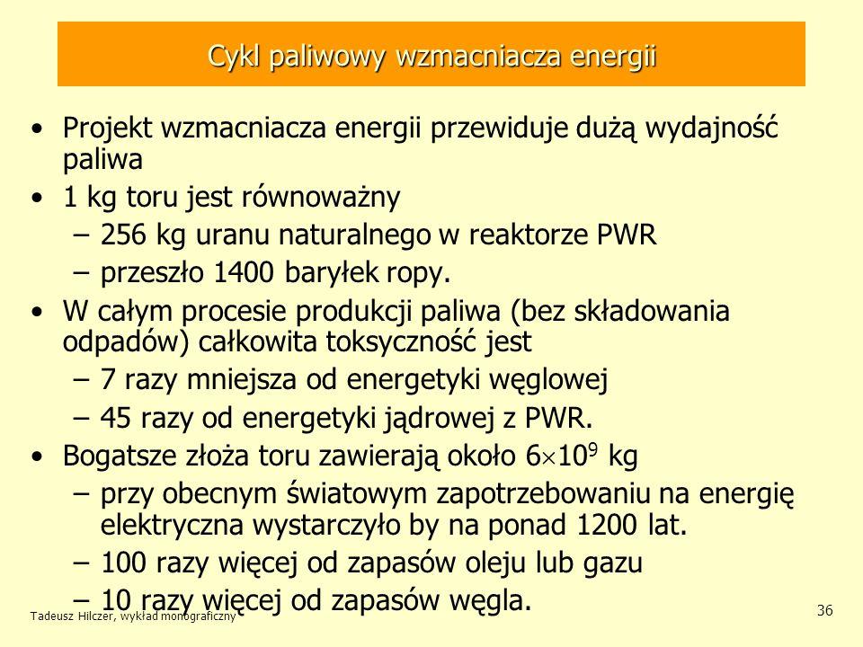Tadeusz Hilczer, wykład monograficzny 36 Cykl paliwowy wzmacniacza energii Projekt wzmacniacza energii przewiduje dużą wydajność paliwa 1 kg toru jest
