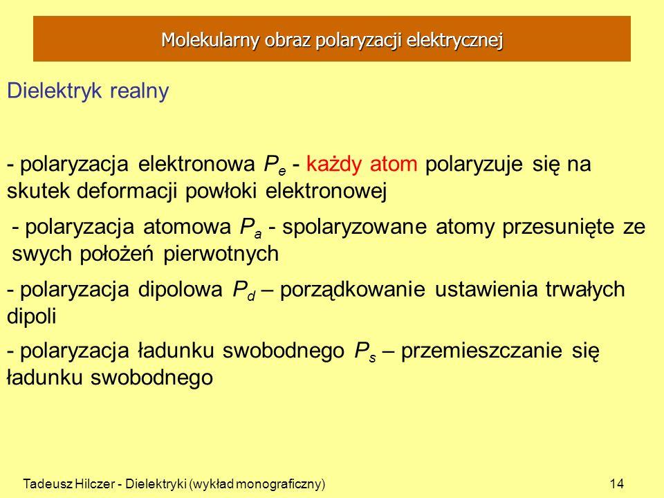 Tadeusz Hilczer - Dielektryki (wykład monograficzny)14 - polaryzacja elektronowa P e - każdy atom polaryzuje się na skutek deformacji powłoki elektron