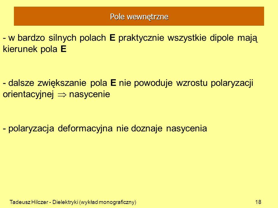 Tadeusz Hilczer - Dielektryki (wykład monograficzny)18 - w bardzo silnych polach E praktycznie wszystkie dipole mają kierunek pola E - dalsze zwiększa