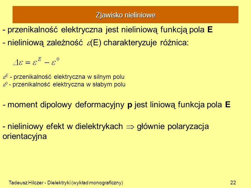Tadeusz Hilczer - Dielektryki (wykład monograficzny)22 - przenikalność elektryczna jest nieliniową funkcją pola E - moment dipolowy deformacyjny p jes