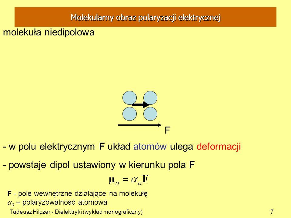 Tadeusz Hilczer - Dielektryki (wykład monograficzny)8 molekuła dipolowa - atomy rozłożone niesymetrycznie - w nieobecności pola elektrycznego środek ciężkości ładunków obu znaków nie jest w tym samym punkcie - istnieje trwały moment dipolowy - trwałe momenty dipolowe zespołu molekuł rozłożone przypadkowo - wypadkowy moment dipolowy zespołu molekuł jest równy zeru Molekularny obraz polaryzacji elektrycznej