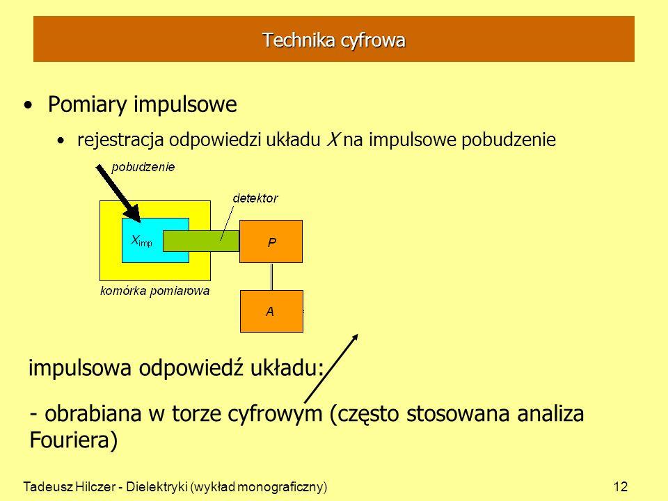 Tadeusz Hilczer - Dielektryki (wykład monograficzny)12 Pomiary impulsowe rejestracja odpowiedzi układu X na impulsowe pobudzenie impulsowa odpowiedź u