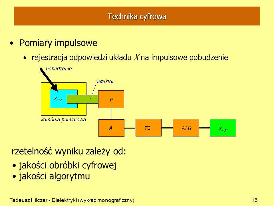 Tadeusz Hilczer - Dielektryki (wykład monograficzny)15 Pomiary impulsowe rejestracja odpowiedzi układu X na impulsowe pobudzenie rzetelność wyniku zal