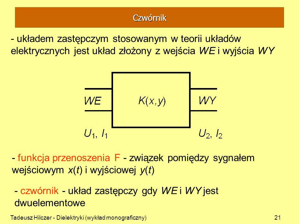 Tadeusz Hilczer - Dielektryki (wykład monograficzny)21 - układem zastępczym stosowanym w teorii układów elektrycznych jest układ złożony z wejścia WE