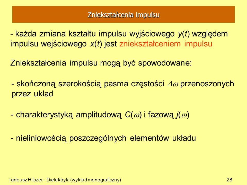 Tadeusz Hilczer - Dielektryki (wykład monograficzny)28 - każda zmiana kształtu impulsu wyjściowego y(t) względem impulsu wejściowego x(t) jest znieksz